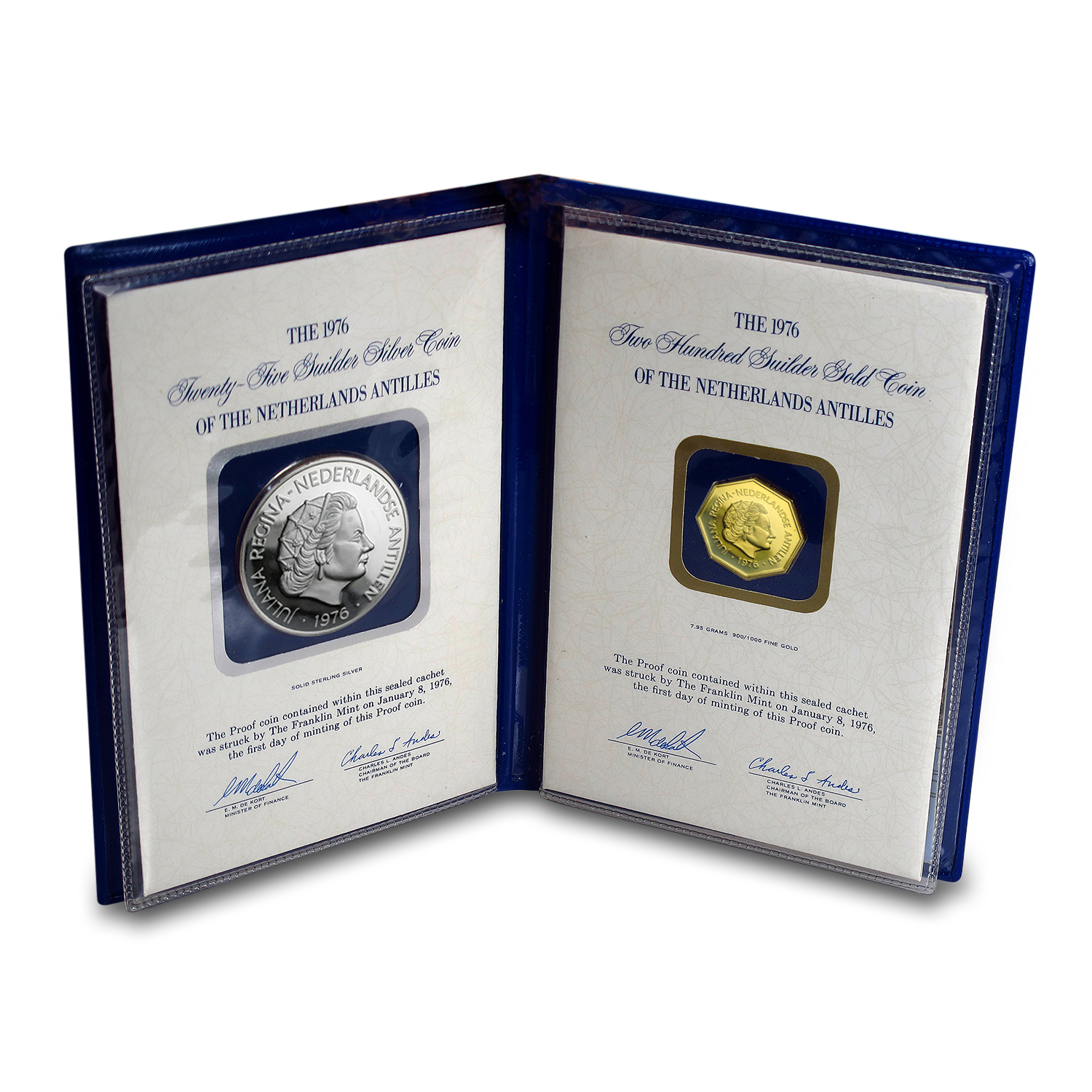 1976 Netherlands Antilles Gold/Silver U.S. Bicentennial Set Proof